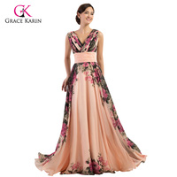 Grace Karin Retro Flower Printed Chiffon Long Formal Evening Dress Floor Length Party Dress A Line