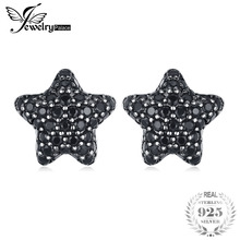 JewelryPalace Genuine 925 Sterling Silver Dazzling Star 0.7ct Natural Black Spinel Pave Stud Earrings For Women Fine Jewelry New