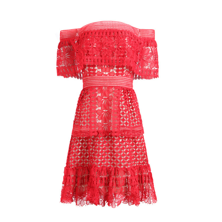Nouveau SP avec été un mot led hors la épaule épissage falbala F0438 évider robe rouge - 4