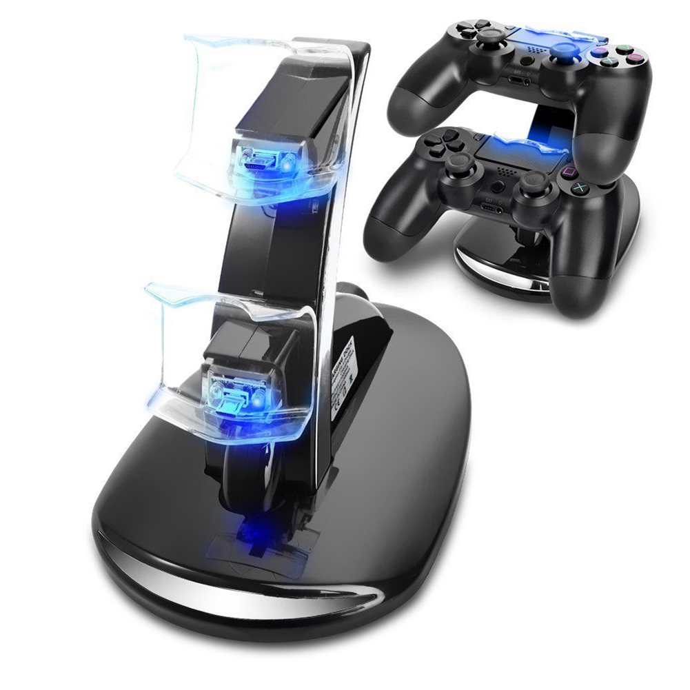 peoplemarketing DC 5V LED Dual USB Controllers Charger Stand Fast Charging Dock Station for Sony Playstation 4 PS4 Gaming Controller