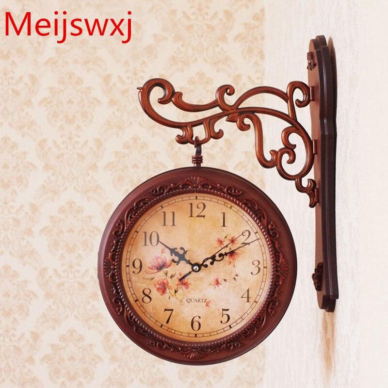 Meijswxj Double Face Horloge Murale Saat Reloj Horloge Relogio de parede Duvar Saati Reloj de minimaliste Horloge Murale Muet En Plastique Montre
