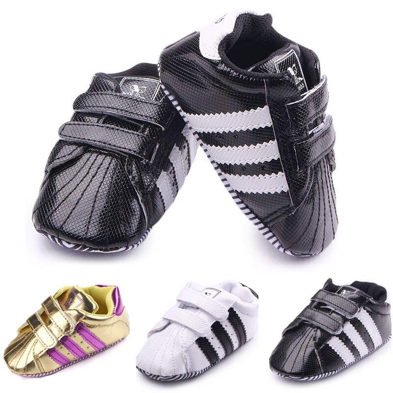 2018 Novos Sapatos de Bebê Da Criança Das Meninas Dos Meninos Primeiro Walkers Bebê Recém-nascido Stripe PVC Sapatos Fundo Macio Sapatos-Calçado antiderrapante sapatos infantis