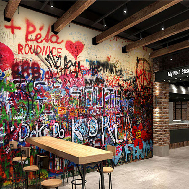 Custom D Photo Wallpaper Gothic Graffiti Mural D Abstract Color Words Wallpaper For Coffee Shop Decoration