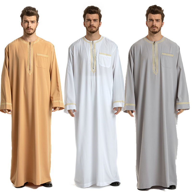 Mens Plus Size Muslim Islamic Robes Dubai Saudi Arab Abaya Maxi Kaftan Jubba Thobe Man Pakistan Ethnic Costume Prayer Clothes