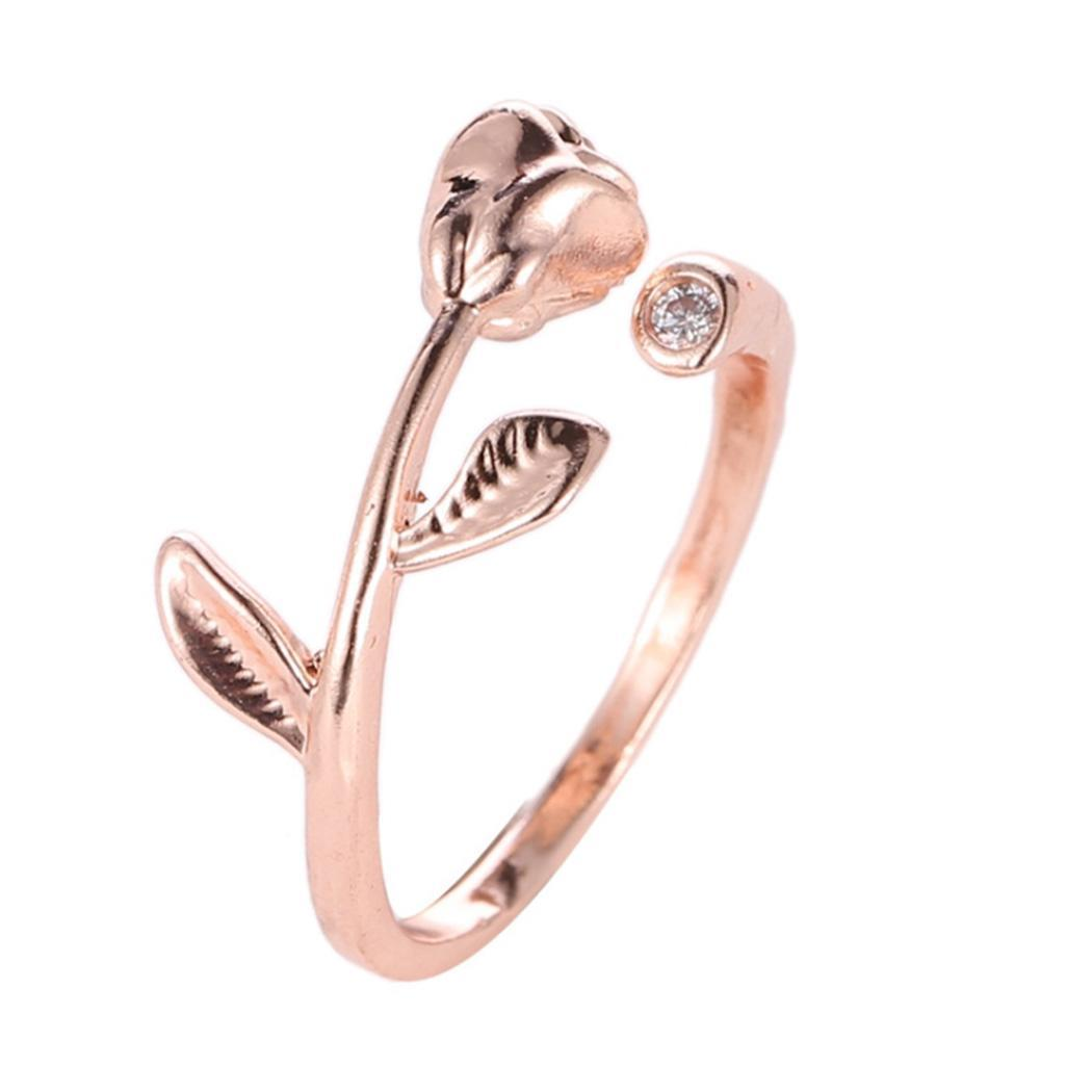 Women Charming Rose Decor Ring Rhinestone Classic Alloy Round Ring 2cm/0.9inch jewelry Home, Party, Wedding(China)