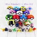 1 pcs Pokeball + 1 Pcs aleatória Figura Elfo elfos Pokébola Pikachu Mestre Super Grande Bola De Cinzas de Fadas Animal Figura PVC brinquedo