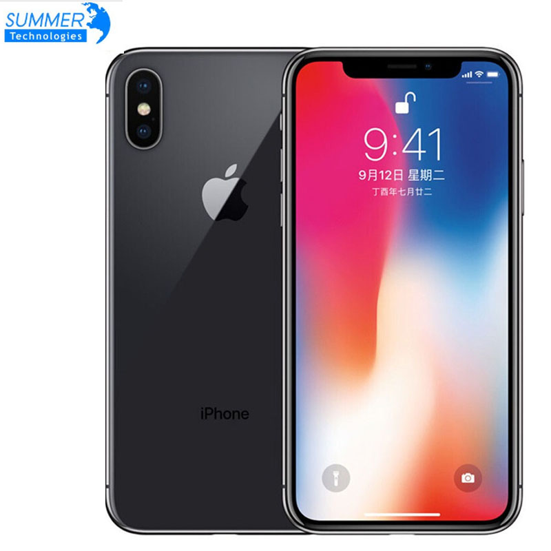 """Débloqué d'origine débloqué Apple iPhone X Hexa Core Smartphone téléphone 256 GB/64 GB ROM 3GB RAM double caméra arrière 12MP 5.8 """"4G LTE"""