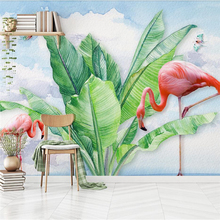 Современный минималистичный ручной росписью тропические растения Фламинго бабочка ТВ фон стены на заказ Большие Настенные обои