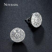 Newbark ronda stud pendientes para las mujeres de lujo top clear zirconia pavimentada oro blanco plateado brincos pendiente de la boda joyería