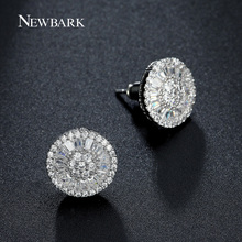 NEWBARK Round Stud Earrings For Women Luxury Top Clear Zirconia Paved Silver Color Brincos Wedding Earring Jewelry
