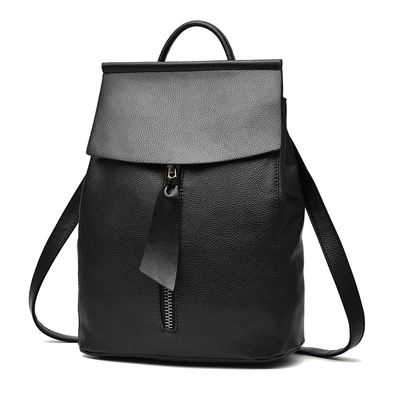 women leather backpack minimalist solid black high quality school bags for teenagers girls preppy style backpacks new women pu leather backpack minimalist solid black high quality tassel bags for teenagers girls preppy style string backpacks