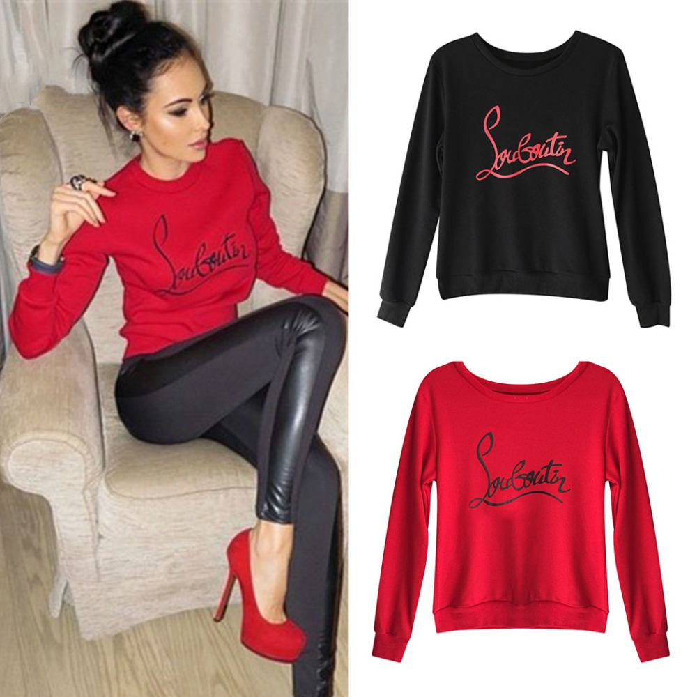 Harajuku Frauen Sweatshirt Hoodies Mode Fleece Warme Brief Gedruckt Pullover Casual Langarm Rot Tops Damen Streetwear