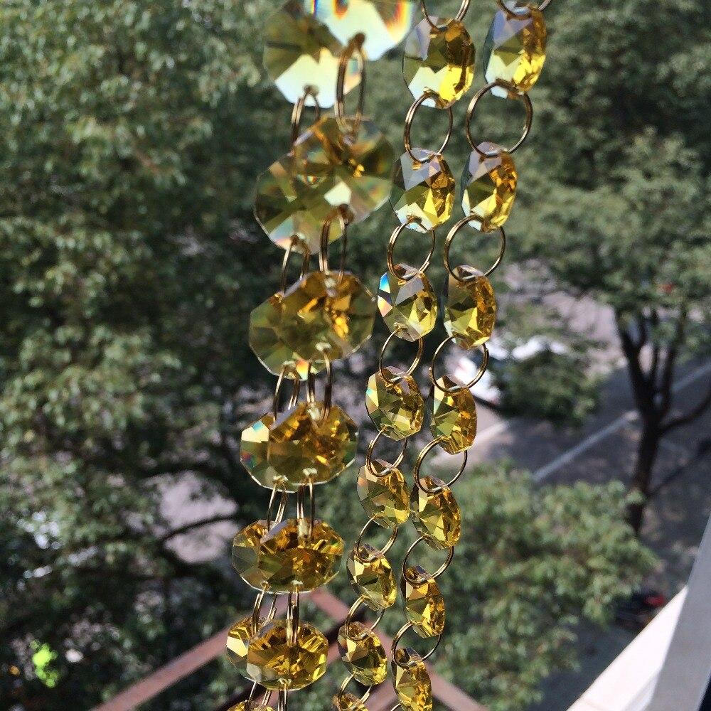 Or 14mm cristal octogone perle rideau, 100 M/lot, brins de guirlande de cristal, mariage et noël, chaîne de perles de cristal
