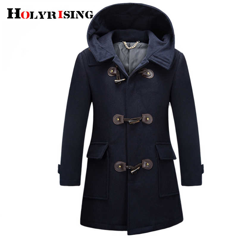 Holyrising Men's wool coat Horn button Coats Fashion Color Block Wool Coat Overcoat Men Windbreaker Jacket Peacoat for Man 18835