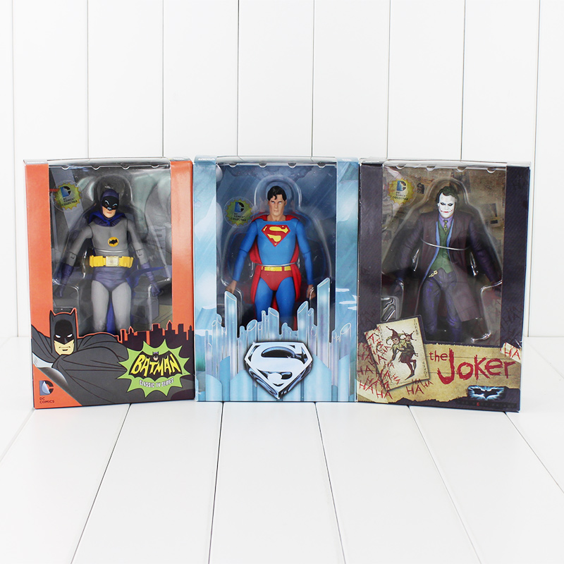 17cm NECA DC Comics <font><b>Action</b></font> <font><b>Figure</b></font> Superman <font><b>Batman</b></font> <font><b>Joker</b></font> With Darts Knife Weapon <font><b>Classic</b></font> <font><b>TV</b></font> <font><b>Series</b></font> Collectible Model Toy Dolls