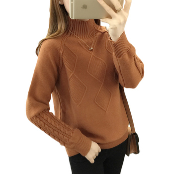 Autumn Turtleneck Sweater Winter Warm Tops Women's Long Sleeve Knitted Sweaters Solid Ladies Casual Loose Pullovers And Sweaters autumn winter women cotton sweaters and pullovers korean style long sleeve o neck casual sweater loose solid knitted pullovers