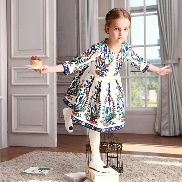 WL MONSOON  Girls Party Dress Children Vestidos  Brand Kids Costume Princess Girls Dresses Floral Pattern Kids Dress msd6a600htab w4 msd6a608htab msd6a800htab wl