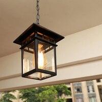 Retro pendant lamp European simple waterproof rust cinnamon outdoor garden lights outdoor corridor entrance E27 lighting lamp