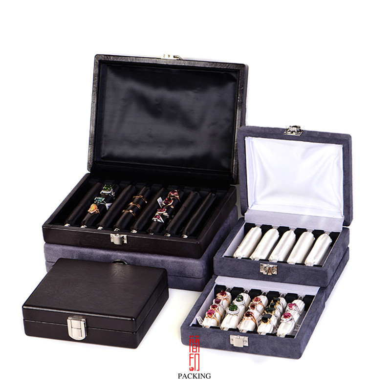 High-end exhibition portable ring box, sponge ring bag, ring box storage display box display box