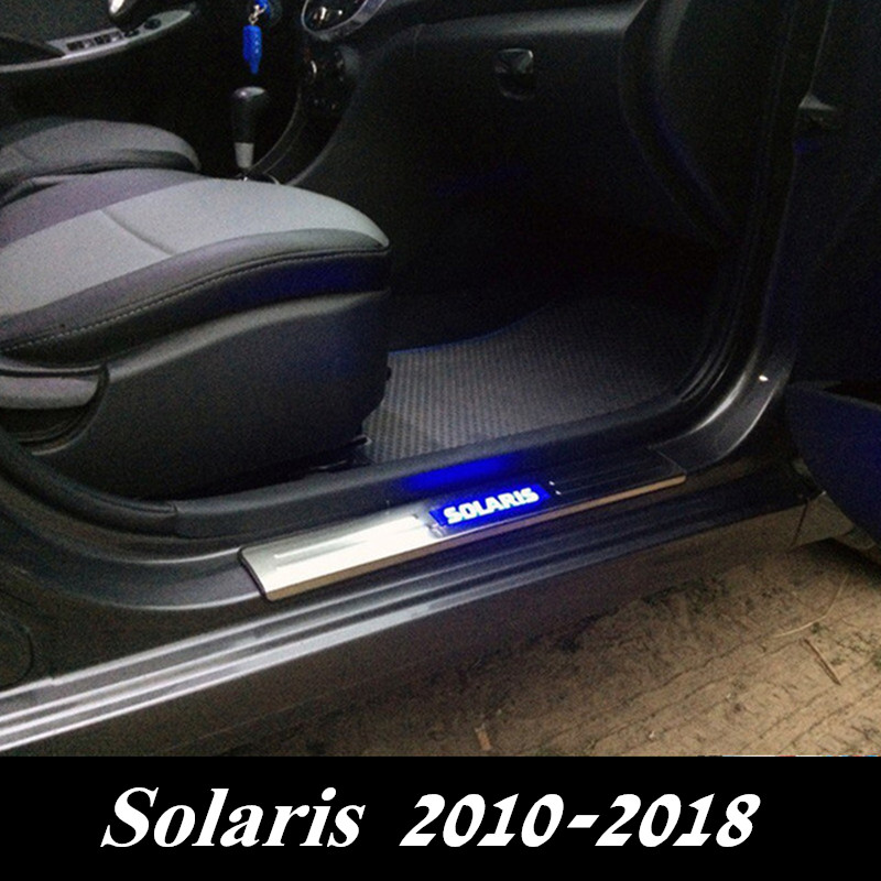 LED Door Sills Plates for Solaris 2010 2018 Stainless Steel Car Door Sill Guard Plates for Hyundai Solaris 2 2017