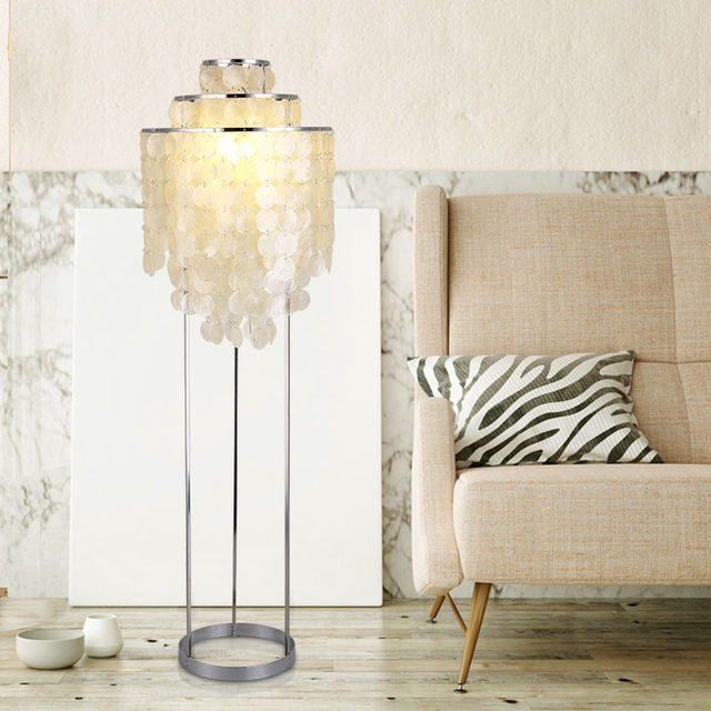 Attractive Modern Nordic Natural Shells Floor Lamp Bedroom Standing Shell Lamps
