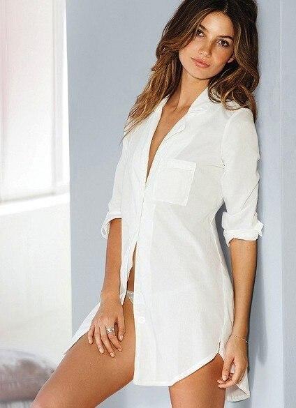 WHITE COTTON MAYFAIR SLEEPSHIRT Vs menswear styling cotton nightie  sleepwear lounge notch collar sleepshirt 7d1d30224