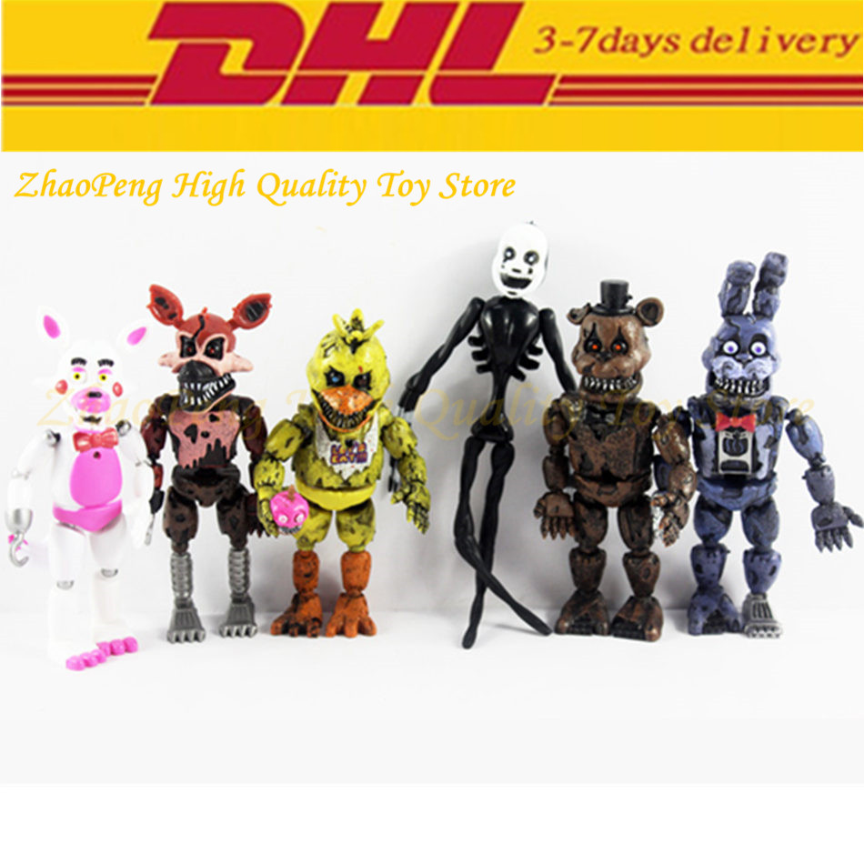 90pcs/set DHL free shipping 5.5 Inch Five Nights At Freddy's PVC Action Figure game Toy Foxy Gold Freddy Chica Freddy LED Lights