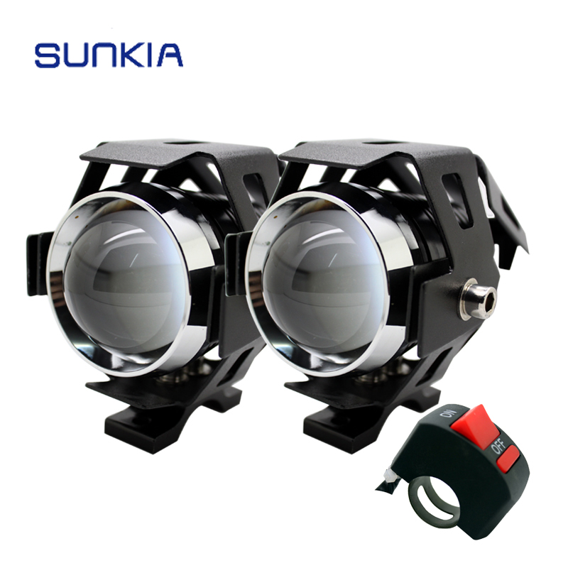 SUNKIA 2Pcs / Sepasang Motosikal Kalis Air LED Lampu 3000LM Cree Chip U5 3 Mod Motosikal LED Memandu kabus Spot Head Light Lamp