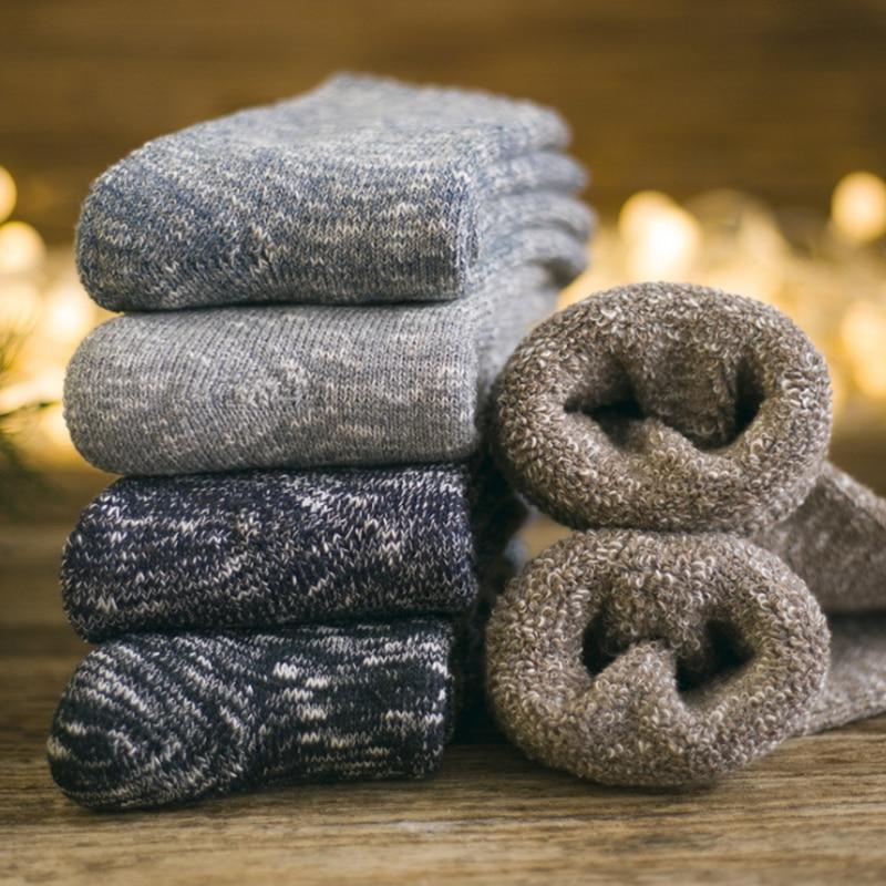 5Pair Winter Mens Super Thick Cashmere Wool Socks High Quality Classic Business Brand Man Socks Mens Casual Socks Winter