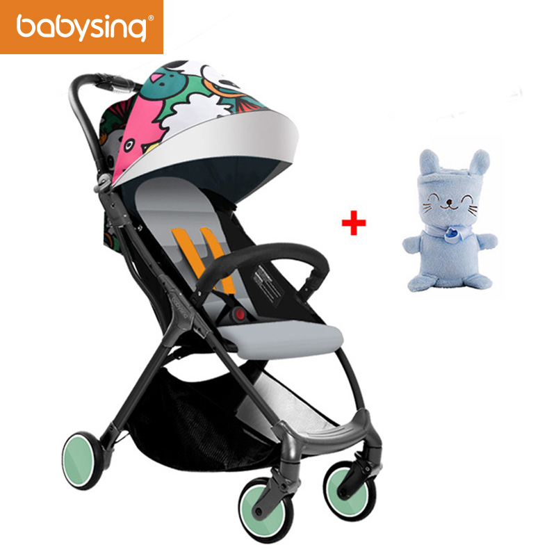 Babysing Lightweight Stroller 1S Fold Portable Traveling Stroller Can Take to Plane & 3D Design With Gift Soft Baby Blanket babysing high view baby stroller anti shock portable lightweight stroller easy fold pushchair travel system baby strolly