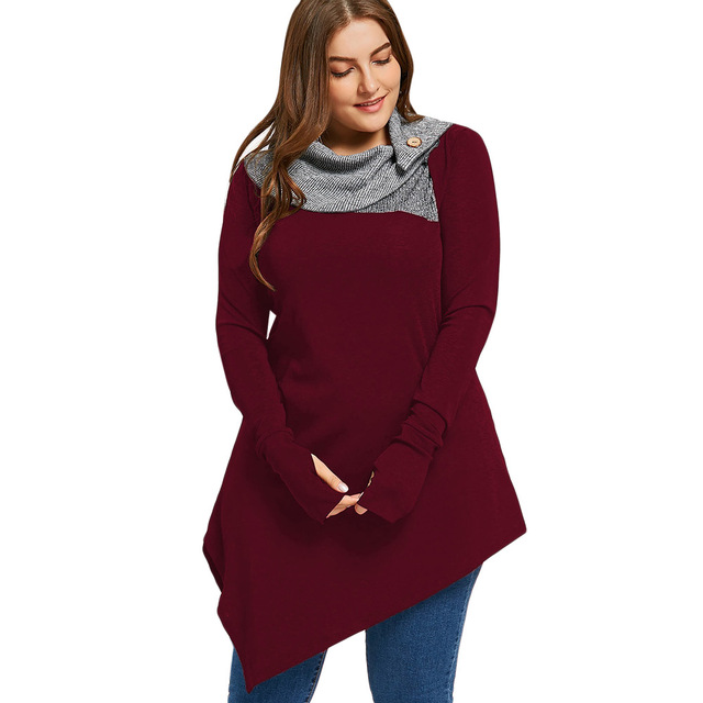 Kenancy 2018 Autumn Plus Size Thumb Hole Asymmetrical Tunic Top Women Long Sleeve Turn-Down Collar Casual T-Shirts Tops Tees