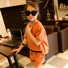 Детская Одежда Новый Летний Костюм Девушки Сшивание С Короткими Рукавами Футболки Шорты 2 Шт. Набор Детская Одежда Белый Серый Orange Хлопок