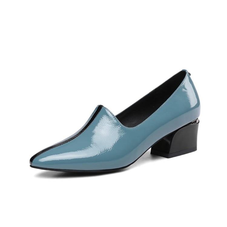 34 Primavera Tamaño Otoño Azul Black Dedo Puntiagudo Tacón Slip blue Las Vaca Fiesta Pie Zapatos Del Cuero Alto Boda 40 Mljuese Mujeres 2019 Color En De Bombas BxPv7qg