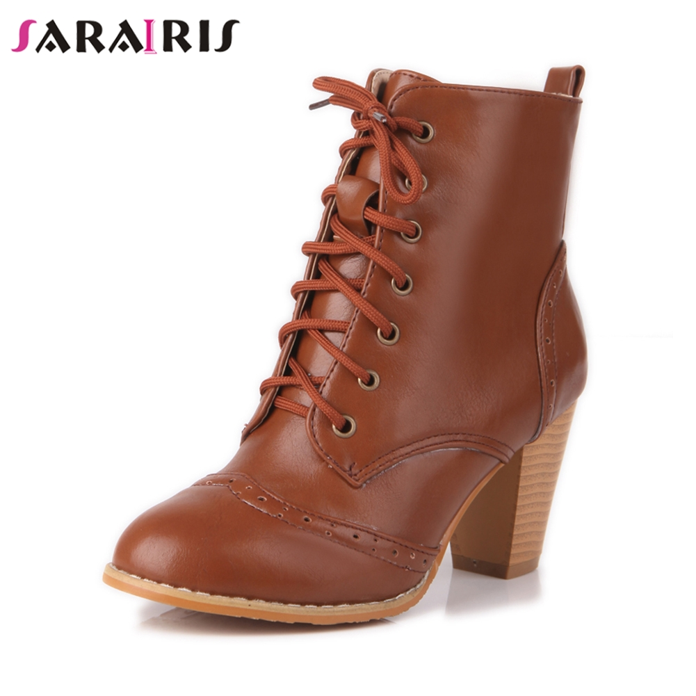 SARAIRIS New Mature Black lace up Booties Women Plus Size 33 48 Autumn Winter Add Fur OL Boots Women High Heels Shoes Woman in Ankle Boots from Shoes