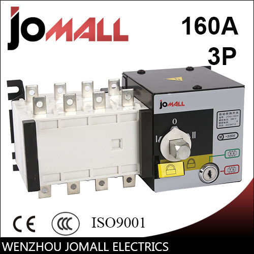 PC grade 160amp 220V/ 230V/380V/440V 3 pole 3 phase automatic transfer switch ats