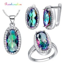 Rainbamabom Bohemian Real 925 Sterling Silver Mystic Rainbow Topaz Gemstone Earrings Ring Necklace Jewelry Set Gift Wholesale недорого