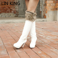 LIN KING Hot Sale Sexy High Heels Platform Women Long Boots Thin Heel Zipper Warm Faux Rabbit Fur Winter Shoes Martin Botas