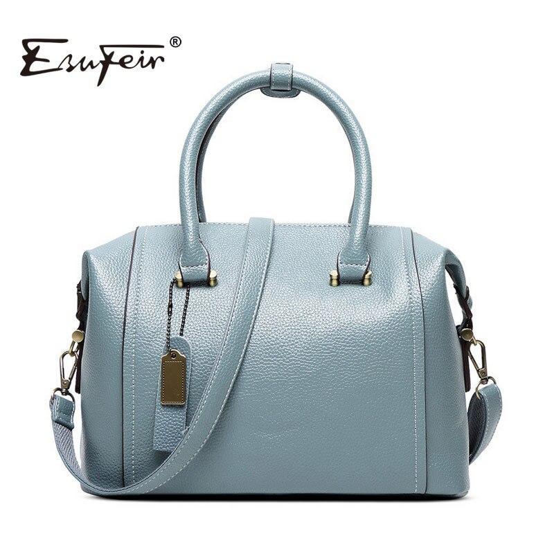 ESUFEIR New 2017 Embossed Leather Boston Women Handbag Fashion Pillow Women Bag