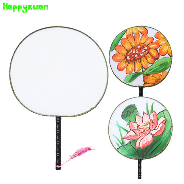 Happyxuan 5pcs Lot Kids Craft Paint Chinese Hand Fan Cloth Kindergarten Creative Handicraft Material Drawing