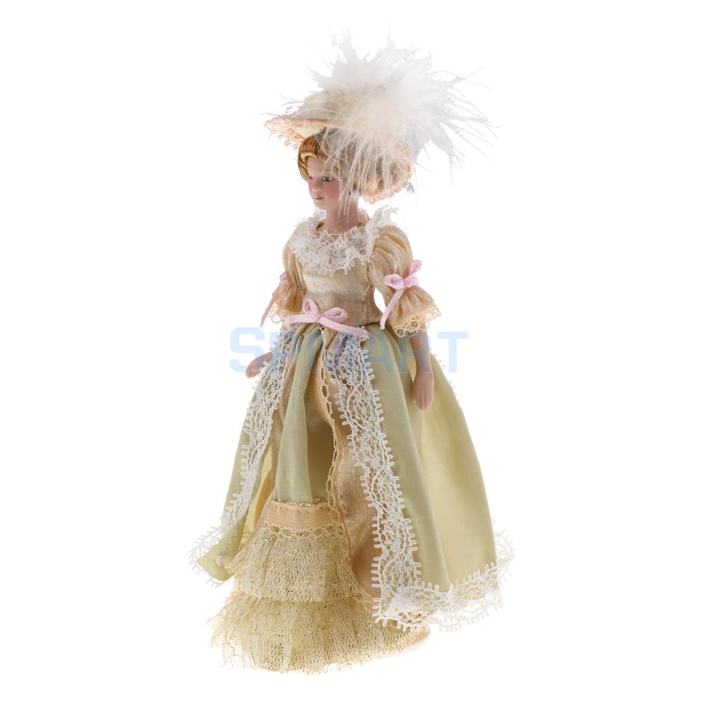 1:12 Scale Dollhouse Miniature Porcelain Doll Victorian Lady in Light Green Dress Children Kids Toy 1