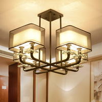 Chinese Style Iron Chandelier Rectangular Living Room Lamps Creative Restaurant Retro Iron Bedroom Study Lighting Lamp