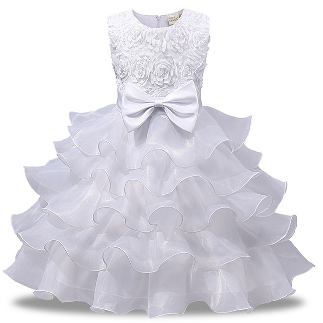 62f4f676ab Childrens Party Fancy Dress Ideas Red Pink Blue Beige Evening Prom Girls  White Dress for Communion