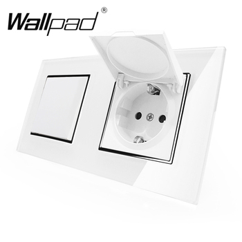 цена на EU Socket with Cap Wallpad Crystal Glass Panel 110V-250V Dust Cap Schuko EU Wall Socket with Claws and 1 Gang 2 Way Light Switch