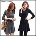 2015 new Autumn Winter Fashion Korean Style Women Casual Dress with A-line Long Sleeve  folded waist  free shipping L-XL  22.5