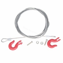 10PCS RC Crawler Steel Rope with Tow Hook for 1/10 Axial SCX10 90026 TAMIYA CC01 RC4WD D90 D110 TF2 Climbing Car Trailer Parts