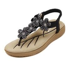 2016 New Korean Female Flowers Diamond Flip Flops Sandals Large Size Beach Shoes Black Purple Beige