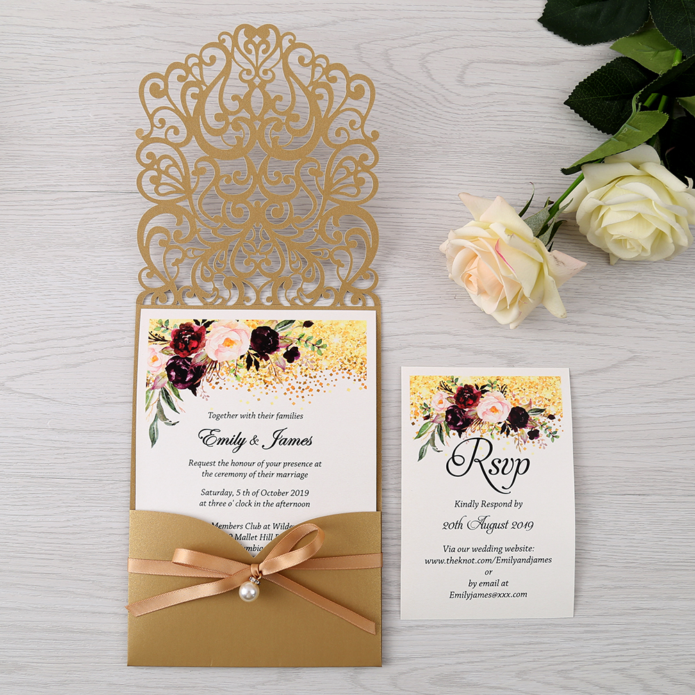 50pcs Gold New Arrival Horizontal Laser Cut Wedding Invitations with pearl ribbon RSVP card Customizable