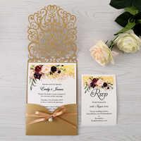50 stücke Gold Neue Ankunft Horizontale Laser Cut Hochzeit Einladungen mit perle band, RSVP karte, Anpassbare