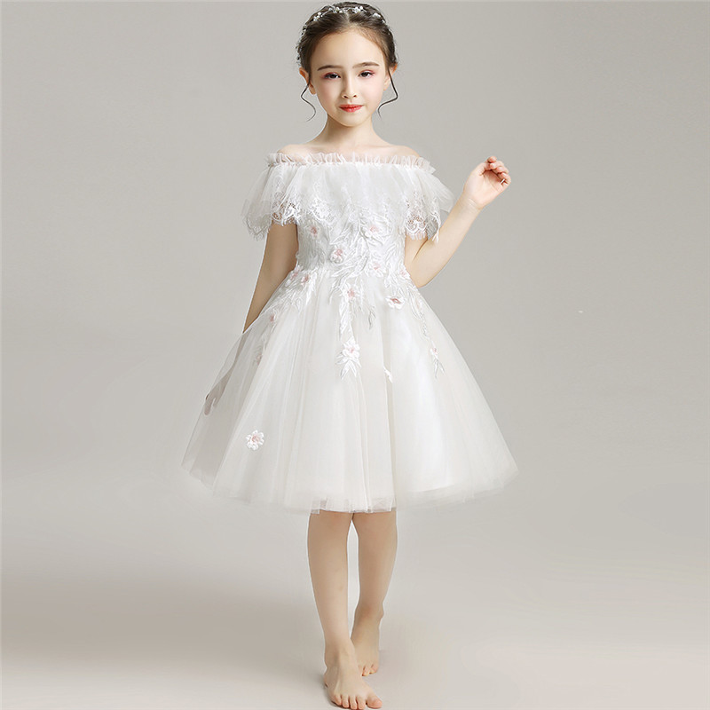 2019Summer Noble Treasure Lace Dress Baby Kids Wedding Birthday Party Dress Girls Shoulderless Princess Dress Infant Clothes