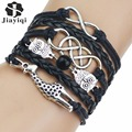 New Arrival 6 Colors Leather Bracelets for Women Men Cute Owl Giraffe Charm Bracelet Hot Sale Top Quality Fashion Jewelry 2017